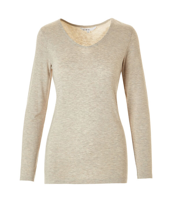 Oak Mix V-Neck Top, Oat Mix, hi-res