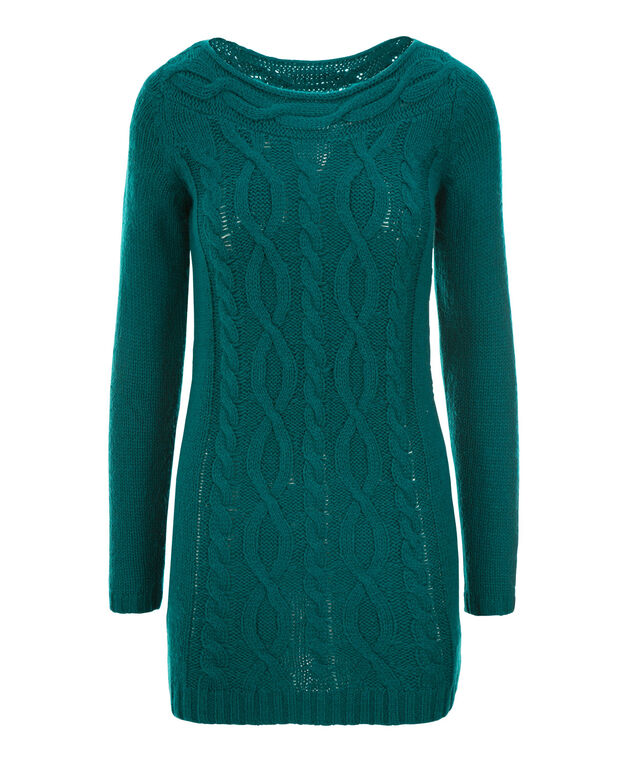 Boat Neck Cable Tunic, Bright Teal, hi-res