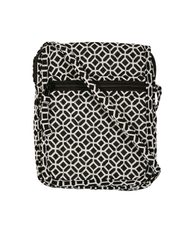 Quilted Medallion String Wallet, White/Black, hi-res