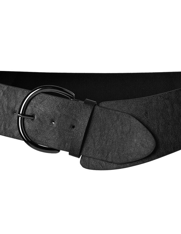 Black Asymmetrical Stretch Belt, Black/Hemi, hi-res