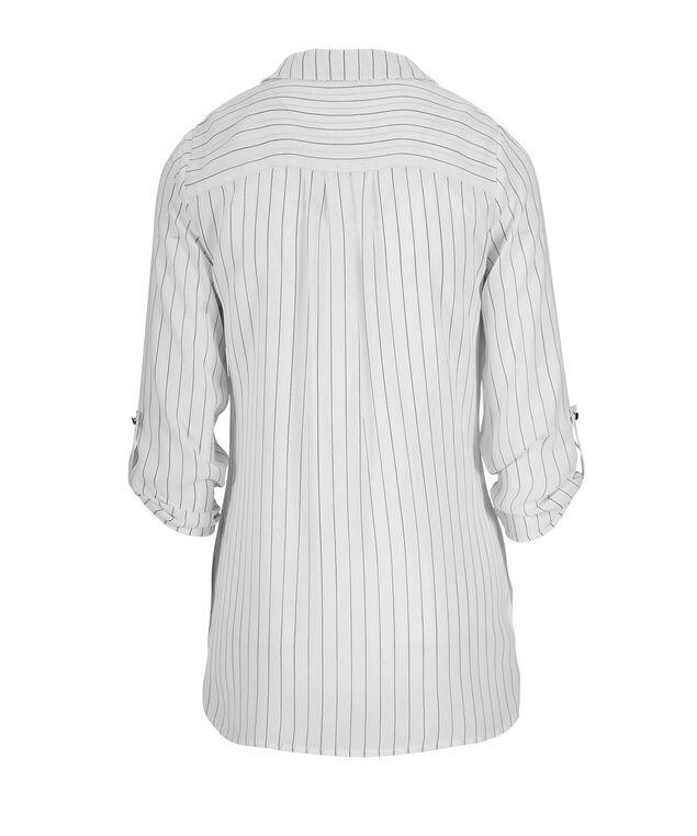3/4 Sleeve Zip Front, Black/White Print, hi-res