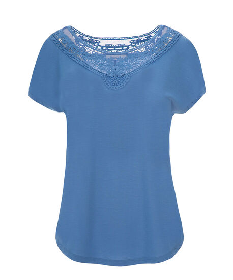 Short Sleeve Crochet Yoke, Sea Blue, hi-res
