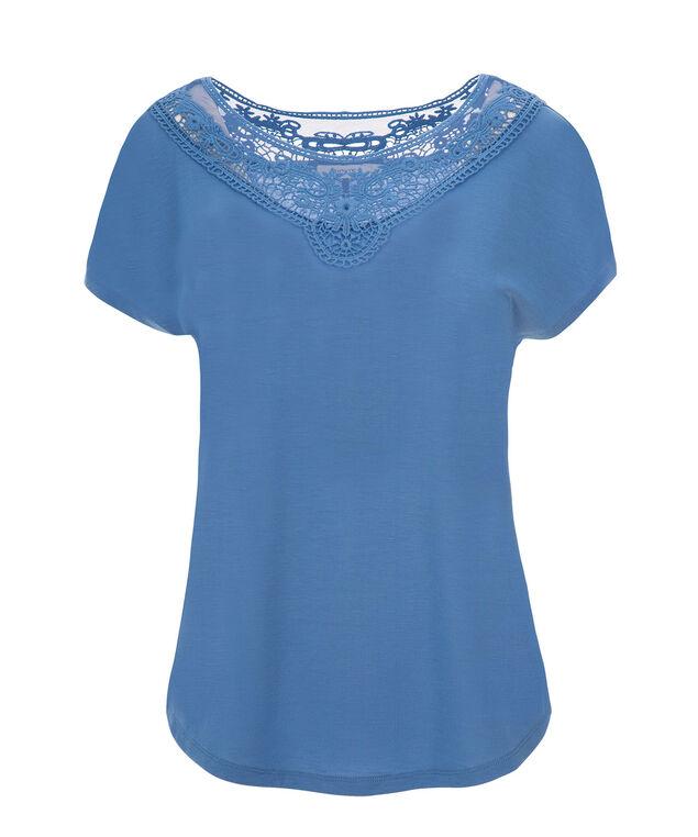 Short Sleeve Crochet Yoke, Sea Blue, hi-res