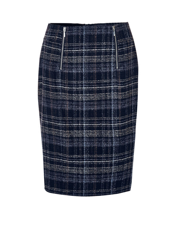 Navy Tweed Pencil Skirt, Navy/White/Blue Cloud, hi-res