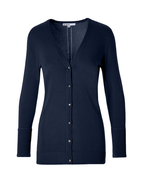 Navy Cardigan Sweater, Navy, hi-res