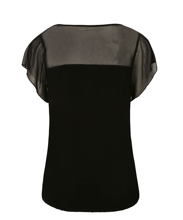 Short Sleeve Illusion Neck Bubble, Black, hi-res