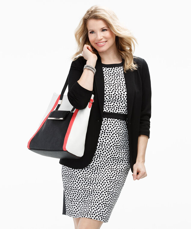 Polka Dot Sheath Dress, Black/White Print, hi-res