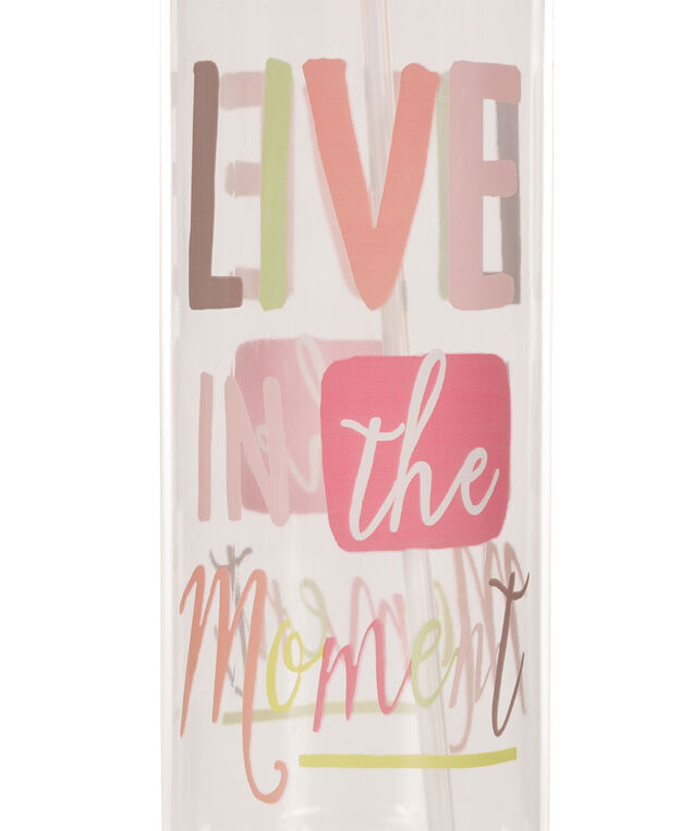 Live In The Moment Water Bottle, Pink, hi-res