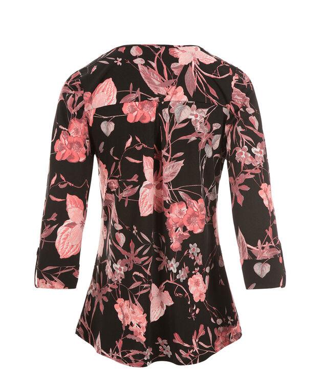 3/4 Sleeve Zip Front, Coral Print, hi-res