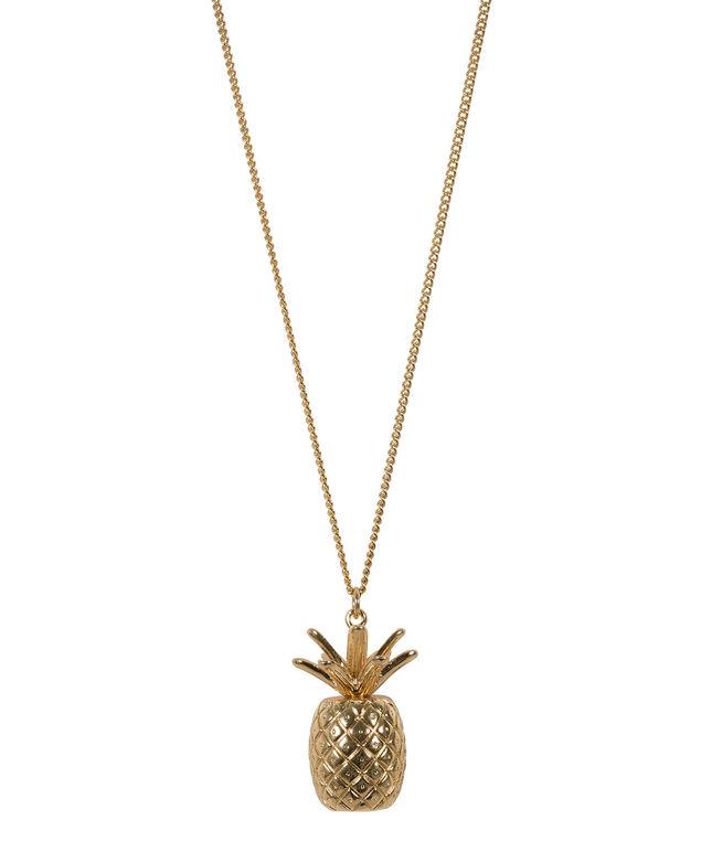 Pineapple Pendant Necklace, Antique Gold, hi-res
