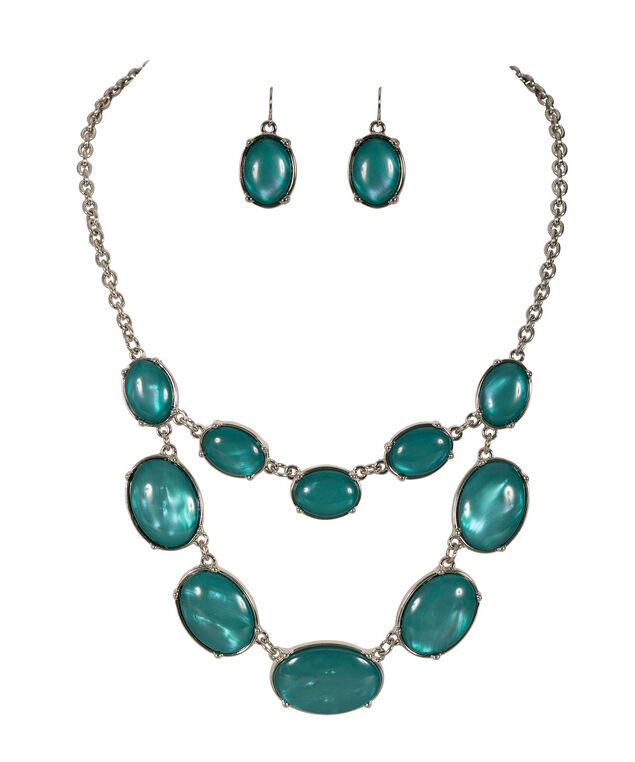 Oval Stone Necklace Set, Tropical Teal/Rhodium, hi-res