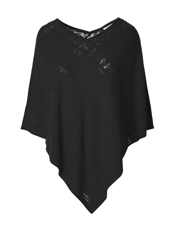 Black Poncho Sweater, Black, hi-res