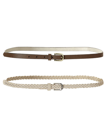 Two Pack Casual Skinny Belt, Brown/Stone, hi-res
