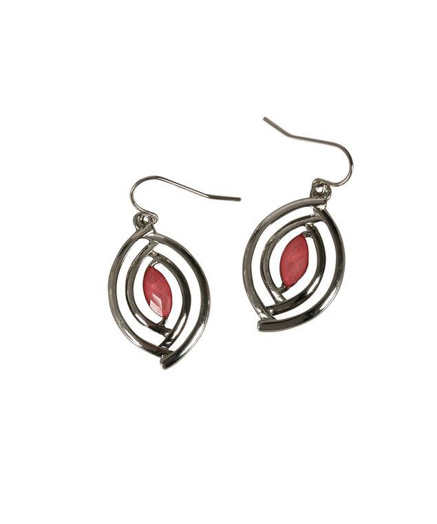 Glitter Stone Earring, Strawberry Daiquiri/Rhodium, hi-res