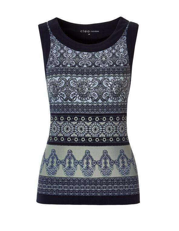 Sleeveless Aztec Print Top, Navy/Olive/Washed Blue, hi-res