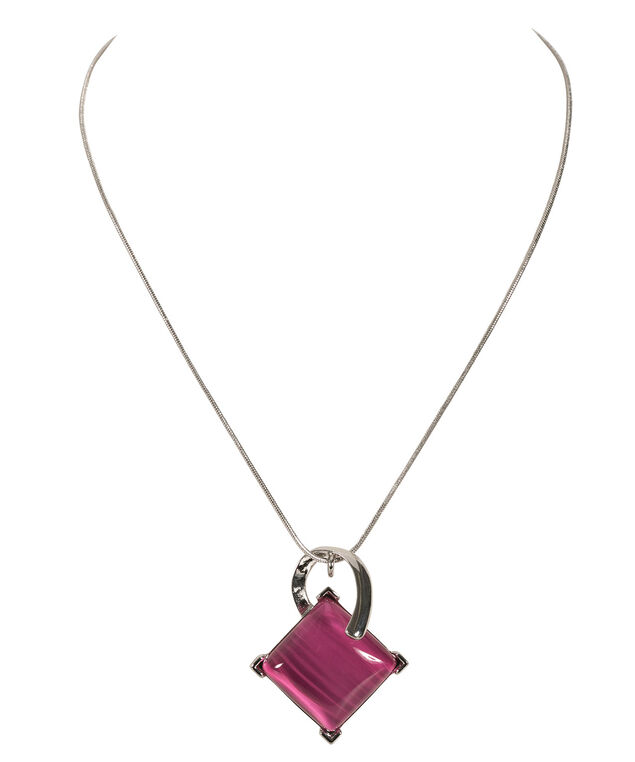 Diamond Cateye Necklace, Vibrant Pink/Rhodium, hi-res