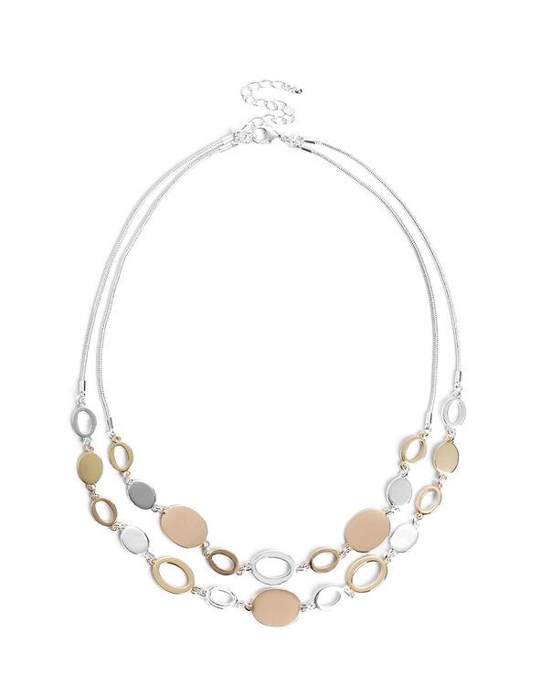 3 Tone Fancy Necklace, Silver/Gold/Rose Gold, hi-res