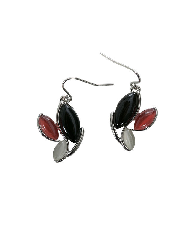 Cateye Trio Earring, Black/Red/White, hi-res
