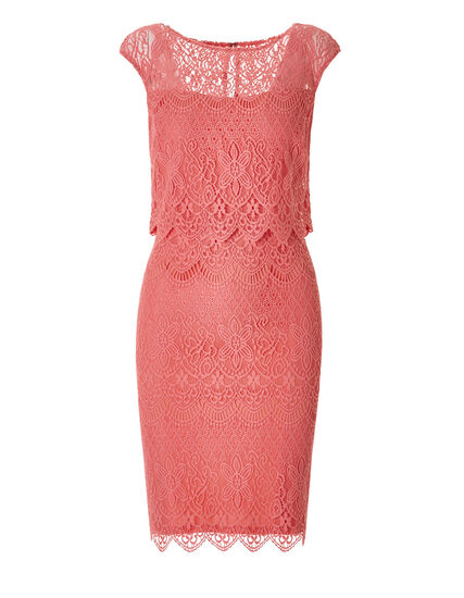 Coral Lace Shift Dress, Coral, hi-res