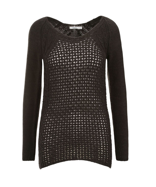 Pretty Pointelle Pullover, Charcoal, hi-res