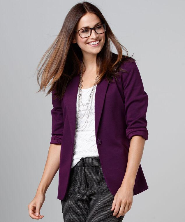 Knit Boyfriend Blazer, Ultra Purple, hi-res