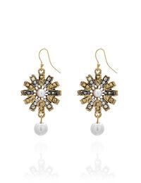 Gold Pearl Starburst Earring