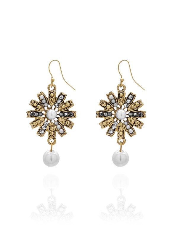 Gold Pearl Starburst Earring, Gold/Pearl, hi-res