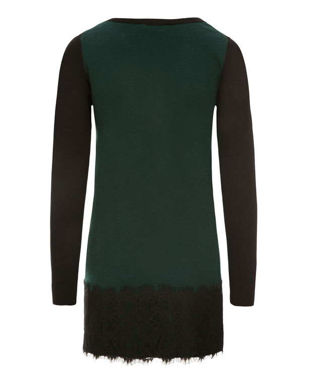 Colourblock Lace Tunic, Black/Juniper, hi-res