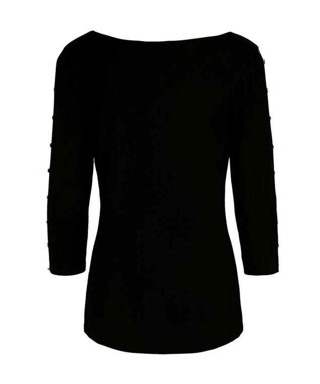 3/4 Cage Sleeve Top, Black, hi-res