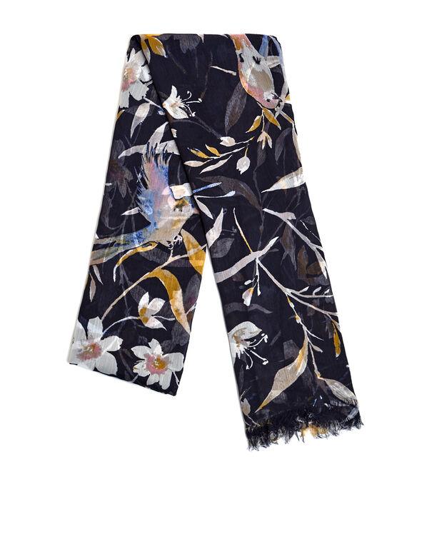 Navy Floral Oblong Scarf, Navy/Saffron/White, hi-res