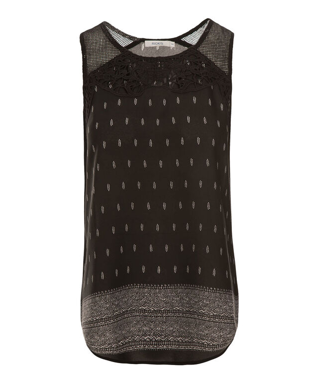 Crochet Neckline Blouse, Black Print, hi-res