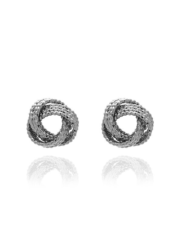 Silver Knot Stud Earring, Silver, hi-res