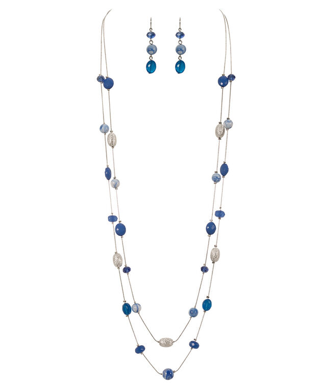 Textured Bead Necklace Set, Sapphire/Turquoise/Rhodium, hi-res