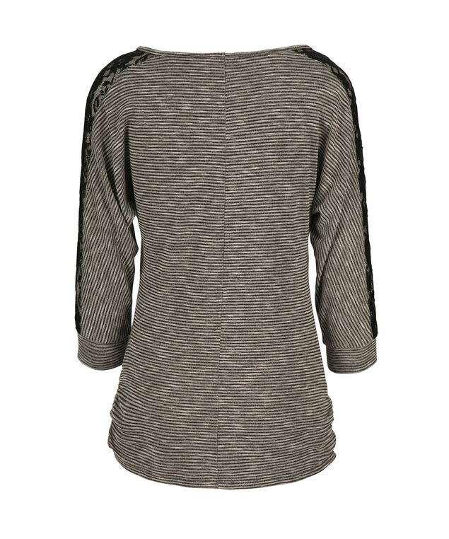 Lace Insert Sleeve Top, Neutral Pattern, hi-res