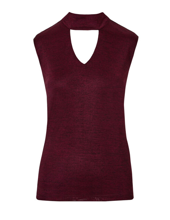 Claret Collared V-Neck Top, Claret/Black, hi-res