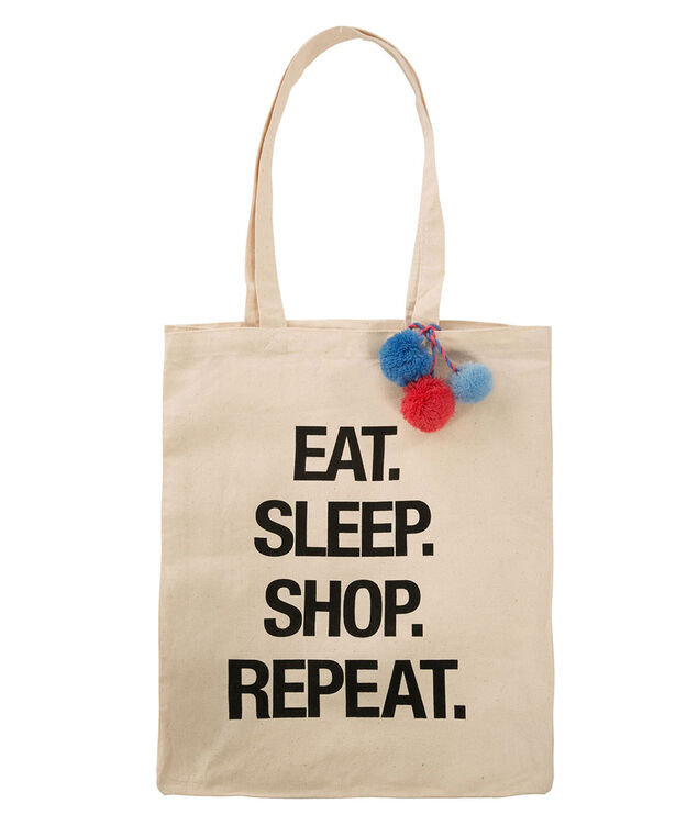 Eat Sleep Shop Reusable Tote Bag, Neutral, hi-res