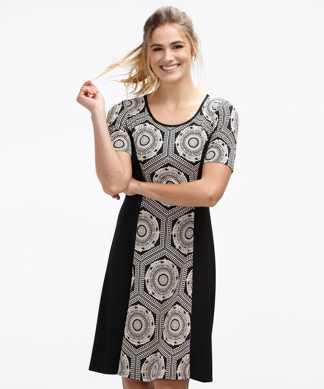 Colourblock Puff Print Dress, Black/Milkshake Print, hi-res