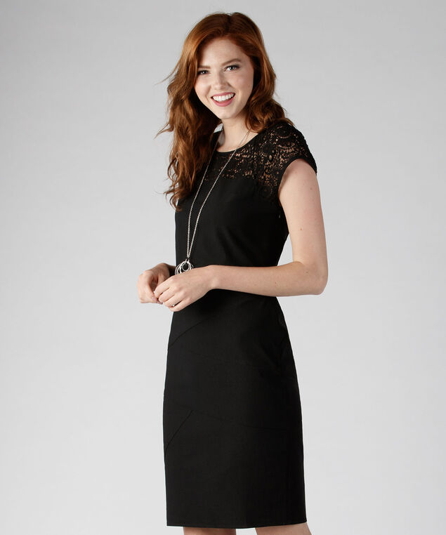 Banded Microtwill Dress, Black, hi-res