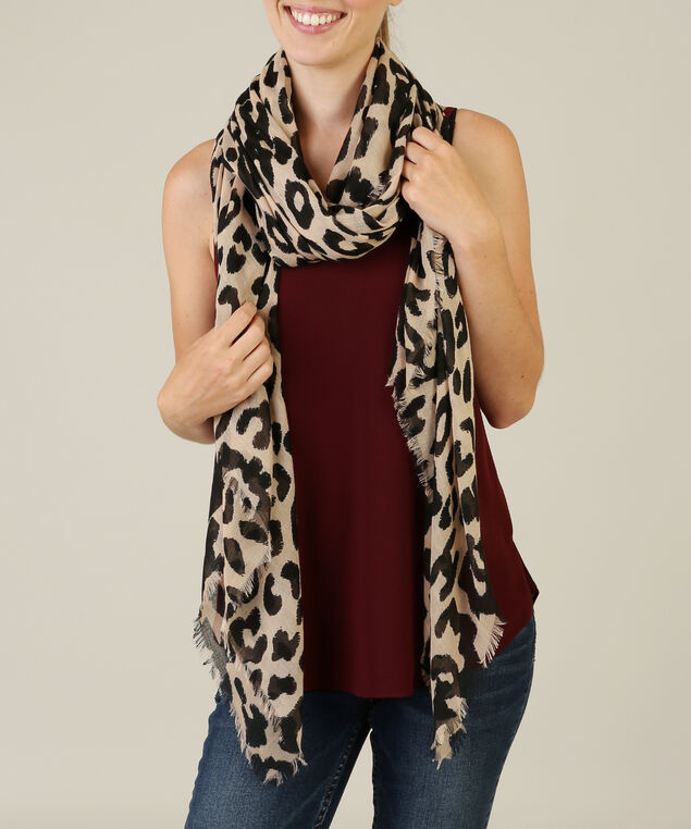 animal print scarf, BROWN, hi-res