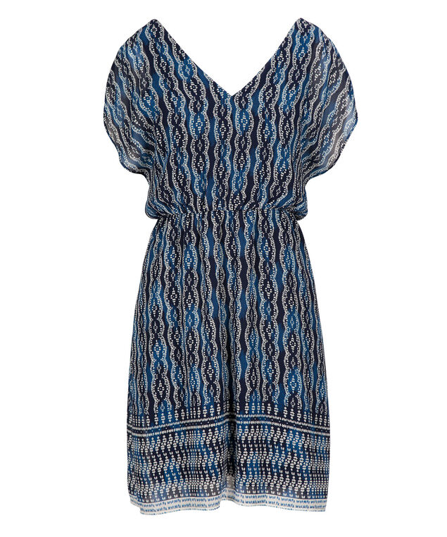 Flutter Sleeve Chiffon Dress, Indigo Print, hi-res