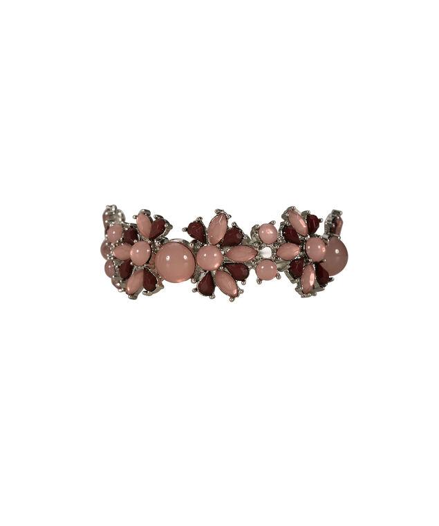 Teardrop Stone Bracelet, Burgundy/Rose/Rhodium, hi-res