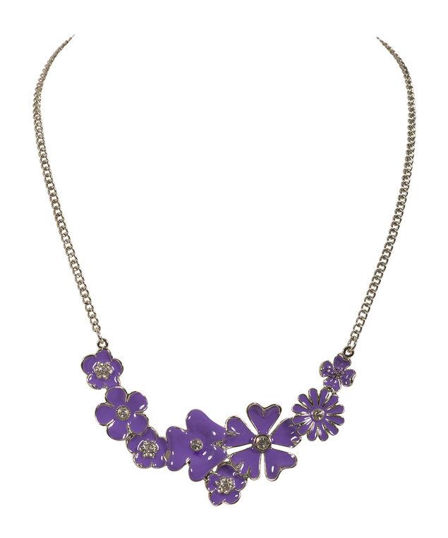 Purple Floral Statement Necklace, Purple/Rhodium, hi-res