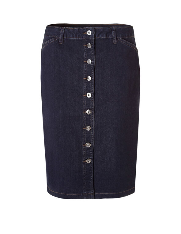 Denim Button Front Skirt, Medium Wash, hi-res