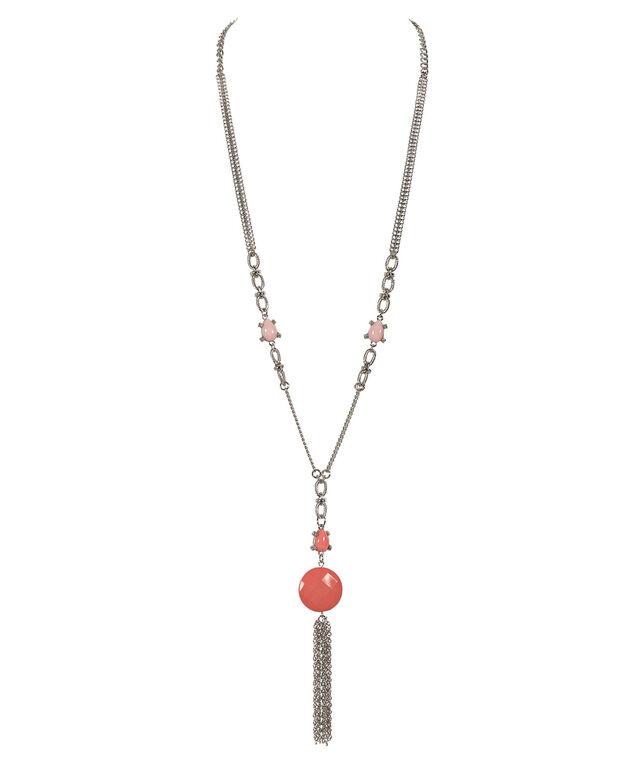 Stationed Stone & Tassel Necklace, Coral/Burnt Orange/Rhodium, hi-res