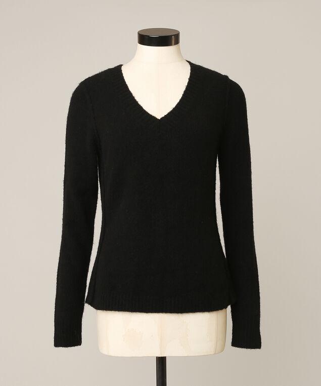 jennann v neck sweater, BLACK, hi-res