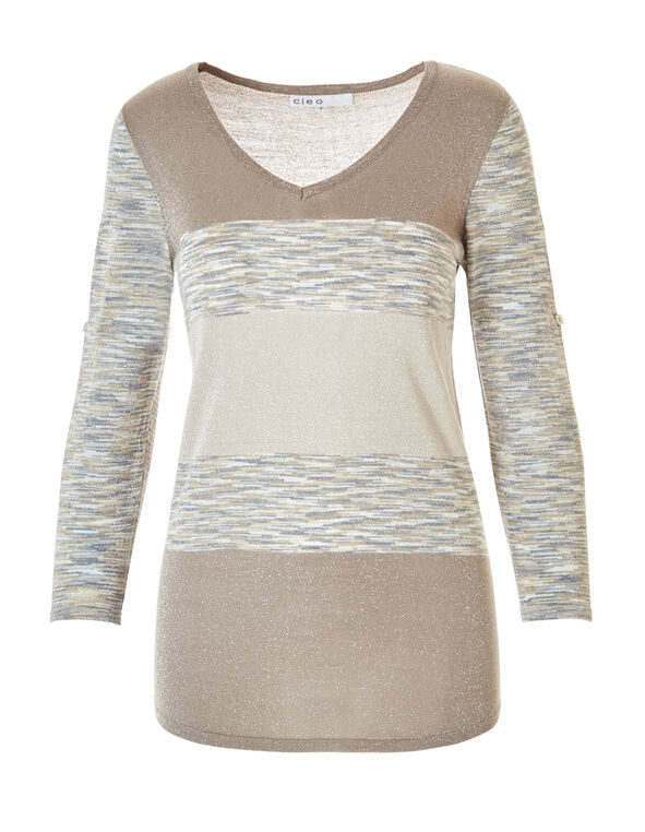Lightweight V-Neck Sweater, Oat/Grey, hi-res