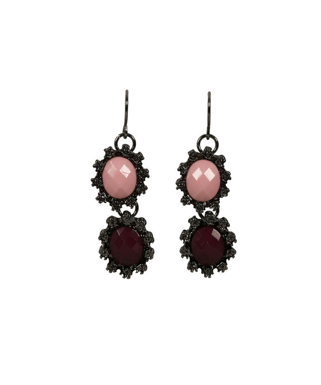 Stone Statement Earring, Burgundy/Hematite, hi-res