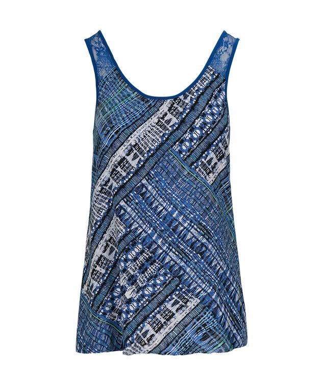 Crochet Trim Tank, Marine Blue Print, hi-res