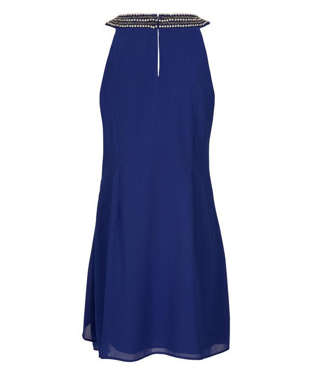 Jewel Neck Trapeze Dress, Ultra Blue, hi-res