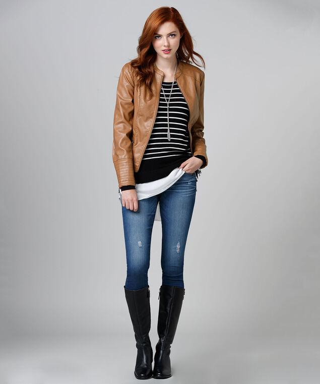 Zip Front Jacket, Cognac, hi-res